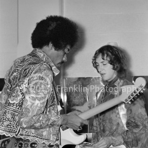 Backstage shot of Jimi Hendrix and Mitch Mitchell at the 2-5-68 show at Arizona State University. Photo by Tom Franklin.