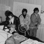 8476 Buffalo Springfield band members (except drummer Dewey Martin) on 4-26-68  in one of the offices under the grandstand at the Fairgrounds  in Phoenix Arizona. Photo by Tom Franklin