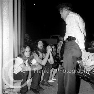 8873 Blue Cheer manager backstage with drummer Paul Whaley  at the Exhibit Hall show on 3-30-68. Photo by Tom Franklin