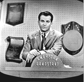 Dick Clark introduces Patsy Cline. Due to the fact that the film footage of Patsy on the show has been lost, Johnny's photos that he took of his television are the only pictures that survive to document her performance.
