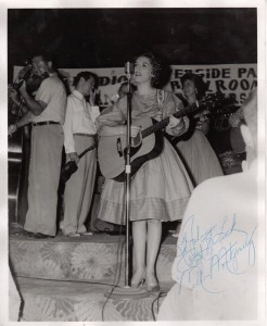 Roy Acuff, Melba Montgomery, and June Stearns at the Riverside Ballroom. Photo by Johnny Franklin.